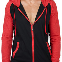 LE3NO Mens Long Sleeve Color Block Zip Up Hoodie Jacket (CLEARANCE)