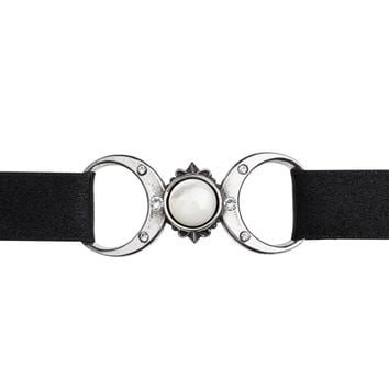 Alchemy Gothic Triple Goddess Crescent Full Moon Choker Necklace