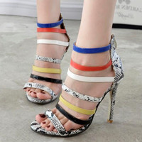 Summer Fashion Multicolor Snake Print Hollow Bandage Zip Exposed Toe Sandals Boots Women Heels Shoes