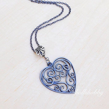 Gray Heart Necklace, Gray Heart Pendant, Long Necklace, Heart Charm Necklace, Filigree Heart Charm, Black Necklace, Back to School Gift