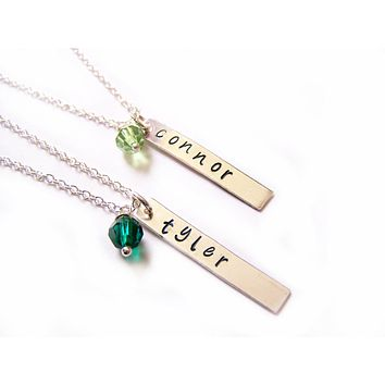 Vertical Bar - Custom Name and Birthstone Personalized Necklace