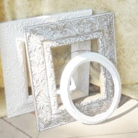 On Sale  Hand Painted White Gesso Frames, Set of 3, Vintage, Shabby Chic, Cottage Style, Weddigs, Portraits, Custom Painted