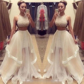 2016 Sexy Women's Pageant Prom Evening Dress Two Pieces Ball Party Formal Gown