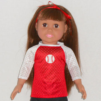 American Girl or Boy Doll Red and White Baseball Jersey fits 18 inch dolls