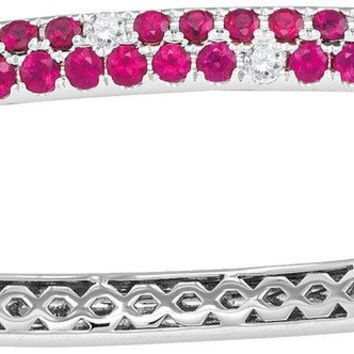 18kt White Gold Womens Round Ruby Diamond Double Row Bangle Bracelet 3-1/3 Cttw