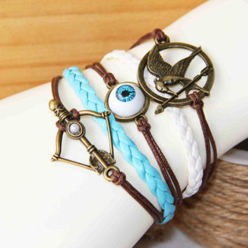 bird and arrow blue eyeball archery bow bracelet cotton wax cord PU pigtail multilayer summer trending simple friendship love gifts