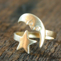 Celestial Vintage Moon and Star Adjustable Brass Ring