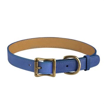 Personalized Dog Collar Italian Leather | Blue
