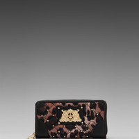 Juicy Couture Ongoing Nylon Quilted/Studded Zip Wallet in Brown Leopard