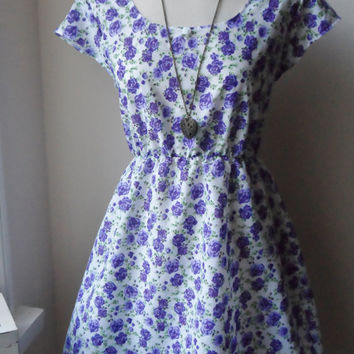 Rose Tea Dress / Purple English Rose Floral Tea Dress / Whimsical Rose Dress