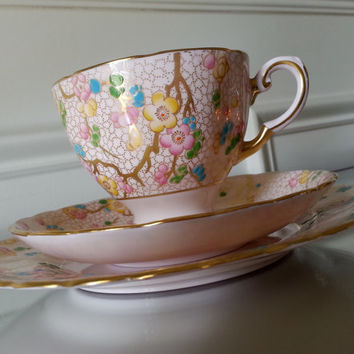 Antique Tuscan hand painted pink floral tea cup trio, English tea cup and saucer, pink and gold china wedding gift