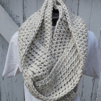 READY TO SHIP, Crochet Loop Scarf, Cream, Aspen Tweed Infinity Scarf, Large Chunky Scarf, Fall Winter, Women's Accessory, Cowl