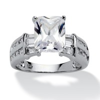 5.04 TCW Emerald-Cut Cubic Zirconia Platinum over Sterling Silver Engagement Anniversary Ring
