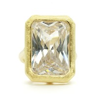 Huge Bezel Set Emerald Cut Clear Cubic Zirconia Stone Fashion Ring in Brushed Gold Finish