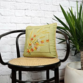 Vintage 1960s Hand Embroidered + Harvest Pillow