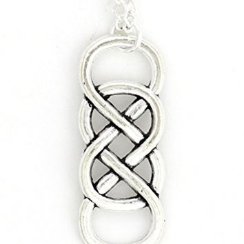 Double Infinity Loop Necklace Silver Tone NX10 Eternity Statement Pendant Fashion Jewelry