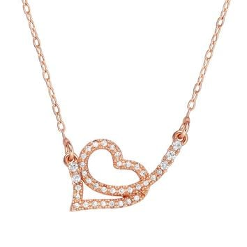Small Cute Eternity Energy Heart Love Powers Amulet Gold-Tone Sparkling Crystals 18 Inch Necklace