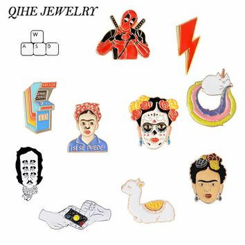 QIHE JEWELRY Frida Kahlo Glama Unicorn Planet Game over Keyboard Pins Badges Brooches for men women Pins collection
