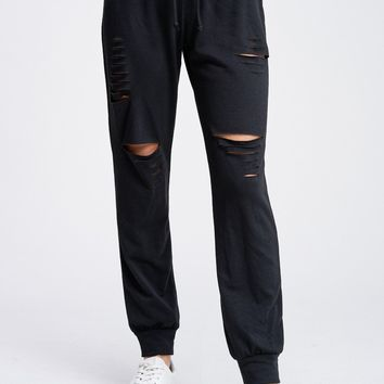 Distressed Solid Knit Joggers - Black