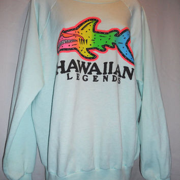 Vintage 80s Neon Hawaiian Legends Shark with Sunglasses Raglan Sweatshirt Mint Size Large