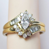 14K 1 Carat Marquise Diamond Wedding Ring Set Sz 6.5