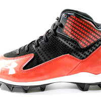 Under Armour Youth's Hammer Mid Jr Black/Red Football Cleats
