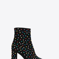 BETTY 95 ankle boots in black suede and multicolored crystals