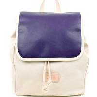 Indigo Globe Leather Backpack, Canvas and Artisan Dyed Leather Backpack, Mediterranean Inspired, Women's Backpack