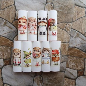 small owl Cotton linen Fabric Patchwork For Sewing Quilt Scrapbooking Tissue Pattern Needlework Material purse Cloth Owl 15cm