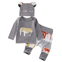 Baby Boys Clothes Elephant Baby Clothing Sets Long Sleeve T-shirt+Pants+Hats Suits Children Clothing