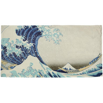 Great Wave Tsunami Japanese Painting All Over Beach Towel