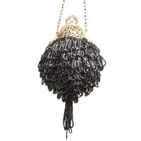 1920s Beaded Evening Bag in Charcoal Gray with Unique Shape