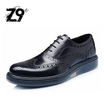 Top fashion dress men shoes oxford flats brogue style brand quality design lace-up classic leather season autumn spring