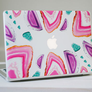 Agate Crystal MacBook Skin - Genuine Pink, Purple and Turquoise Agate Crystal Vinyl Laptop Skin