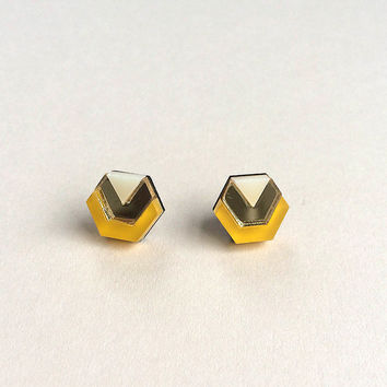 Little Hex Studs in Saffron by Wolf & Moon