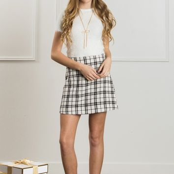 Kira Ivory Plaid Skirt