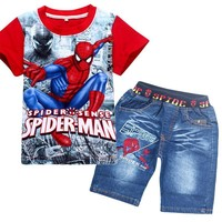 Retail spiderman kids clothing sets fashion cartoon children summer shirt jeans shorts set toddler boys superman clothing