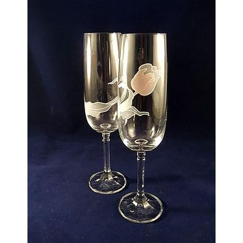 Champagne Flutes With Pink/Gray Rose