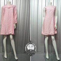 Vintage 60s Two Piece Suit Pastel Pink Womens Medium Jacket and Dress Set Jackie O Suit Powder Pink Mini Shift Dress Coat Dress Ensemble