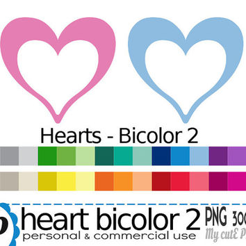 Bicolor heart  - Clipart - 30 colors - 30 PNG files - 300 dpi - Instant download - Transparent PNG-  valentine's day -CA23