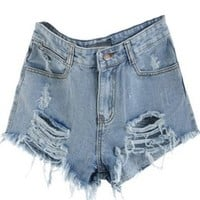 Sheinside Blue Mid Waist Ripped Denim Shorts