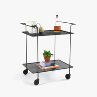 Mid Century Modern Wire Rod Bar Cart