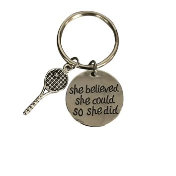 Tennis Keychain - She Believed She Could So She Did