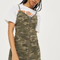 Camo Zip Up Denim Dress
