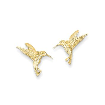 14k Yellow Gold Hummingbird Post Earrings