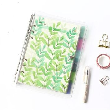 New Refillable Vintage Ring Binder Plastic Shell Notepad Inner Paper Notebook Paging Separator