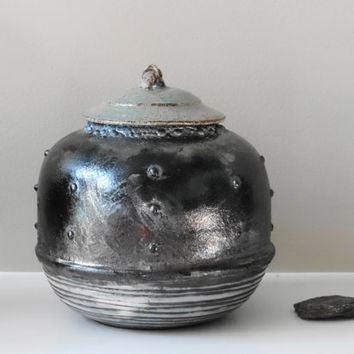Lidded raku jar/urn, keepsake urn, treasure jar, lidded jar, stash jar, pet urn, memorial urn, ceramic jar with lid, Father's day gift