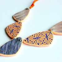 Polymer clay necklace polymer clay summer jewelry, polymer clay necklace orange and purple