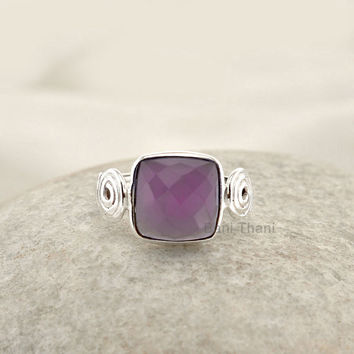 Swirl Designer Lavender Chalcedony Faceted Cushion 10mm Gemstone Ring 925 Sterling Silver Bezel Ring Jewelry - #7708