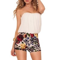 Womens Chiffon Blouson Printed Strapless Sweeetheart Casual Mini Shorts Romper